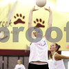 Kyle Bursaw – kbursaw@shawmedia.com<br /> <br /> Indian Creek's Dallas Boehne sets the ball for Kristen Hauck (background) during practice at Shabbona Elementary on Monday, Aug. 13, 2012.