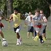 Rob Winner – rwinner@shawmedia.com<br /> <br /> Pancho Garcia (center) controls a ball during a drill at practice in Kirkland, Ill., Tuesday, Aug. 14, 2012.