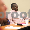 Kyle Bursaw – kbursaw@shawmedia.com<br /> <br /> Pastor Joseph Mitchell, of New Hope Missionary Baptist Church and one of the volunteers in Kishwaukee Community Hospital's on-call chaplain program, reacts as he listens to a guest speaker at one of the program's luncheons in the hospital's conference room on Thursday, Aug. 23, 2012.
