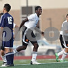 Rob Winner – rwinner@shawmedia.com<br /> <br /> DeKalb's Eric Ngum celebrates his goal during the first half at Barb Cup in DeKalb Thursday, Aug. 23, 2012. DeKalb defeated Belvidere North, 3-0.