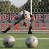 Rob Winner – rwinner@shawmedia.com<br /> <br /> Northern Illinois goalkeeper Jordan Godsey makes a save during a dril at practice on Wednesday, Aug. 22, 2012, in DeKalb.