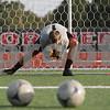 Rob Winner – rwinner@shawmedia.com<br /> <br /> Northern Illinois goalkeeper Jordan Godsey makes a save during a dril at practice on Wednesday, Aug. 22, 2012, in DeKalb.