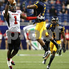 Kyle Bursaw – kbursaw@shawmedia.com<br /> <br /> Northern Illinois wide receiver Martel Moore (1) can't haul in a deep pass while being defended by Kent State safety Leon Green in the second quarter.<br /> The Northern Illinois University Huskies defeated the Kent State Golden Flashes 44-37 in the MAC conference championship game at Ford Field in Detroit, Mich. on Friday, Nov. 30, 2012.
