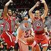 Rob Winner – rwinner@shawmedia.com<br /> <br /> Northern Illinois forward Sam Mader (14) is fouled by Southern Illinois University Edwardsville guard Michael Messer (30) during the first half in DeKalb, Ill., Wednesday, Dec. 5, 2012.