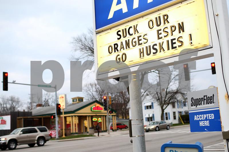 Kyle Bursaw – kbursaw@shawmedia.com<br /> <br /> A Marathon gas station on Lincoln Highway shows support for the Huskies on Monday, Dec. 3, 2012.