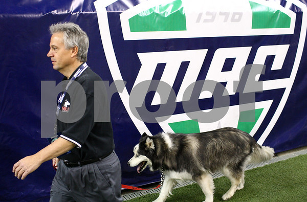 Kyle Bursaw – kbursaw@shawmedia.com<br /> <br /> Tom Bonnevier walks his dog Diesel around Ford Field before the MAC conference championship game at Ford Field in Detroit, Mich. on Friday, Nov. 30, 2012.