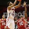 Rob Winner – rwinner@shawmedia.com<br /> <br /> Northern Illinois point guard Travon Baker (5) takes a shot during the first half in DeKalb, Ill., Wednesday, Dec. 5, 2012.