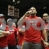 Rob Winner – rwinner@shawmedia.com<br /> <br /> Northern Illinois defensive end Sean Progar speaks at a pep rally for the NIU football team during halftime of the men's basketball game at the Convocation Center in DeKalb, Ill., Wednesday, Dec. 5, 2012.