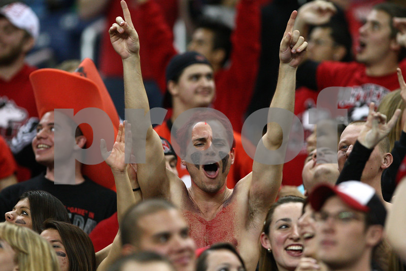 Kyle Bursaw – kbursaw@shawmedia.com<br /> <br /> A Northern Illinois University fan cheers in the fourth quarter. The Northern Illinois University Huskies defeated the Kent State Golden Flashes 44-37 in the MAC conference championship game at Ford Field in Detroit, Mich. on Friday, Nov. 30, 2012.