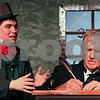 Kyle Bursaw – kbursaw@shawmedia.com<br /> <br /> Nephew Fred, played by Ryan Mortenson, tries to wish his uncle Ebenezer Scrooge, played by Don Austin, a merry Christmas during a dress rehearsal of A Christmas Carol at the Stage Coach Players Theater in DeKalb, Ill. on Monday, Dec. 3, 2012.