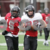 Rob Winner – rwinner@shawmedia.com<br /> <br /> Northern Illinois wide receiver Jamison Wells (right) catches a pass ahead of defensive back Jimmie Ward (15) during practice at Huskie Stadium in DeKalb, Ill., Saturday, Dec. 8, 2012.