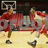 Rob Winner – rwinner@shawmedia.com<br /> <br /> Daveon Balls (left) defends against teammate Travon Barker during a Northern Illinois basketball practice at the Convocation Center in DeKalb, Ill., Thursday, Nov. 29, 2012. Balls and Barker are both freshmen point guards.