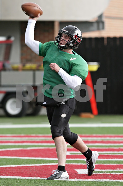 Rob Winner – rwinner@shawmedia.com<br /> <br /> Northern Illinois quarterback Jordan Lynch throws a pass during practice at Huskie Stadium in DeKalb, Ill., Saturday, Dec. 8, 2012.