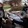 Kyle Bursaw – kbursaw@shawmedia.com<br /> <br /> Kathy Chapman (left), a childhood friend of Maria Ridulph who was with her on the day she disappeared, and Mary Hunt, Jack McCullough's stepsister, take questions from the media outside the DeKalb County Courthouse following Jack McCullough's sentencing on Monday, Dec. 10, 2012.