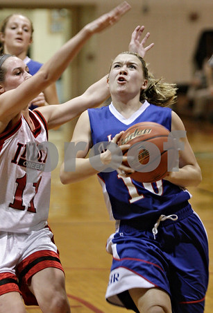 Rob Winner – rwinner@shawmedia.com<br /> <br /> After a steal, Hinckley-Big Rock's Jacqueline Madden goes to the basket during the third quarter in Shabbona, Ill., Thursday, Dec. 13, 2012. H-BR defeated Indian Creek, 48-31.