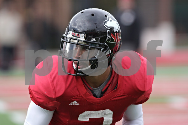 Rob Winner – rwinner@shawmedia.com<br /> <br /> Northern Illinois cornerback Sean Evans during practice at Huskie Stadium in DeKalb, Ill., Saturday, Dec. 8, 2012.