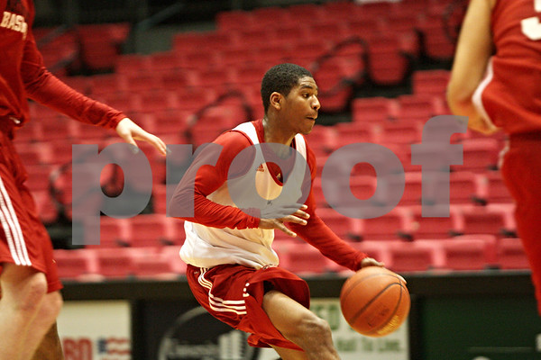 Rob Winner – rwinner@shawmedia.com<br /> <br /> Northern Illinois freshman point guard Travon Barker moves the ball during practice at the Convocation Center in DeKalb, Ill., Thursday, Nov. 29, 2012.