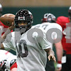 Kyle Bursaw – kbursaw@shawmedia.com<br /> <br /> Northern Illinois wide receiver Tommylee Lewis (10) tosses the ball back to the quarterbacks after making a catch during practice at the DeKalb Recreation Center on Wednesday, Dec. 19, 2012.