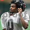 Kyle Bursaw – kbursaw@shawmedia.com<br /> <br /> Northern Illinois wide receiver Tommylee Lewis (10) lifts his helmet during a short break during practice at the DeKalb Recreation Center on Wednesday, Dec. 19, 2012.