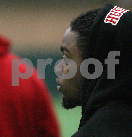 Kyle Bursaw – kbursaw@shawmedia.com<br /> <br /> Northern Illinois running back Akeem Daniels looks on at practice, which he was not dressed for the DeKalb Recreation Center on Wednesday, Dec. 19, 2012.