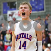 Kyle Bursaw – kbursaw@shawmedia.com<br /> <br /> Michael Bayler reacts to a Hinckley-Big Rock taking the lead in the fourth quarter. Hinckley-Big Rock defeated Mooseheart 58-51 at Hinckley-Big Rock High School on Wednesday, Dec. 5, 2012.