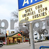 Kyle Bursaw – kbursaw@shawmedia.com<br /> <br /> A Marathon gas station on Lincoln Highway shows support for the Huskies on Monday, Dec. 3, 2012.