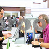 Kyle Bursaw – kbursaw@shawmedia.com<br /> <br /> Dr. Jeffrey Frank, of Spex Expressions, maps Denny Lane's eyes with a Z-View Abberometer at the Senior Health Fair Day held in DeKalb High School on Thursday, July 26, 2012. The device takes high resolution maps of individual eyes help make custom lenses that correct for the smaller irregularities in someone's eyes.