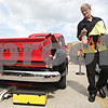 Rob Winner – rwinner@shawmedia.com<br /> <br /> Steven Bruce of Naperville walks around his 1952 Chevy 3100 while cleaning it up for the Turning Back Time Weekend Cruise Night in Sycamore, Ill., Saturday, July 28, 2012.