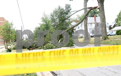 Kyle Bursaw – kbursaw@shawmedia.com  A tree branch, that brought some power lines down with it, lays across the 200 block of North California Street in Sycamore, Ill. on Tuesday, July 24, 2012.