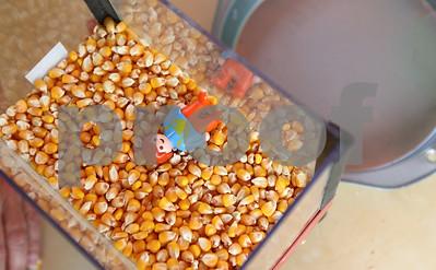 Kyle Bursaw – kbursaw@shawmedia.com  A small model demonstrates the dangers of falling into a grain bin at the DeKalb County Farm Bureau's Farm Safety Camp at Jonamac Orchard in Malta, Ill. on Wednesday, June 20, 2012.