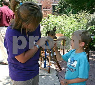 Finn Doyle, 7, of Sycamore, pets a puppy held by Angie Roberts, an adoption counselor with TAILS, Sunday at an artist market at Blumen Gardens in Sycamore.  By Nicole Weskerna - nweskerna@shawmedia.com