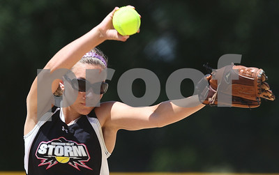 Kyle Bursaw – kbursaw@shawmedia.com  Kishwaukee Valley Storm 18U pitcher Laura Turnroth delivers on Friday, June 22, 2012.