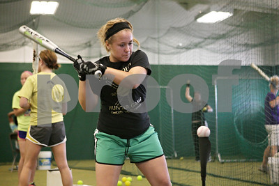 Rob Winner – rwinner@shawmedia.com  Baylie Petit practices her swing during a Kishwaukee Valley Storm 16U team practice Tuesday evening in DeKalb.