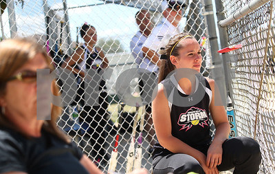 Kyle Bursaw – kbursaw@shawmedia.com  Kishwaukee Valley Storm 18U player Becca Schroeder watches her teammates in the field on Friday, June 22, 2012.