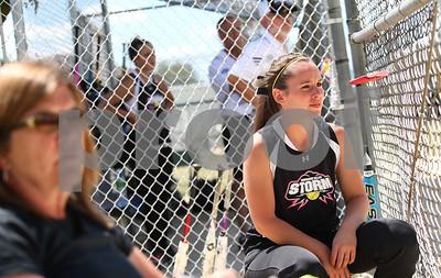 Kyle Bursaw – kbursaw@shawmedia.com  Kishwaukee Valley Storm 18U player Becca Schroeder watches her teammates in the field on Friday, June 22, 2012.
