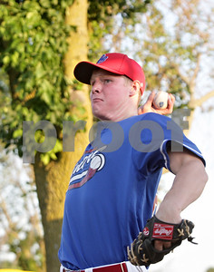 Rob Winner – rwinner@shawmedia.com  DeKalb County Liners pitcher Luke Harrison tosses a ball around during a bullpen session at Founders Field in Sycamore Wednesday, June 20.