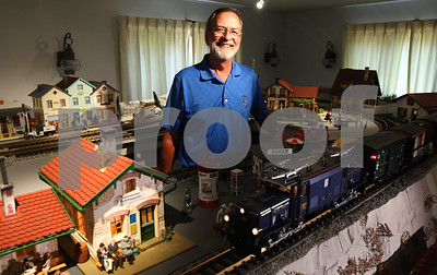Kyle Bursaw – kbursaw@shawmedia.com  Thomas Thompson has spent years working on his European themed model railroad in his DeKalb basement.  Taken on Monday, June 25, 2012.