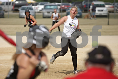 Rob Winner – rwinner@shawmedia.com  Kishwaukee Valley Storm 18u pitcher Stephanie Cartwright delivers a pitch in the bottom of the first inning during a game against Big Dog Heat 18u team at the Storm Dayz tournament in Sycamore Saturday morning.