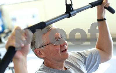 Kyle Bursaw – kbursaw@shawmedia.com  Phil Johnson, the director of accounting for KishHealth, works out on one of the machines in the Cardiopulmonary Rehab center in Kishwaukee Community Hospital on Wednesday, June 6, 2012. Johnson works out there after work three times a week.