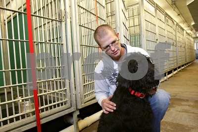 Rob Winner – rwinner@shawmedia.com  Jonathan Johnson spends some time with his 4-year-old Labradoodle named Proto at the DeKalb County Animal Shelter in Genoa Friday afternoon. Proto was rescued by first responders to a fire call in downtown Sycamore on May 24. Firefighters used an oxygen mask to help Proto.