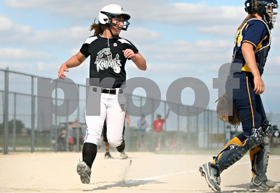 Rob Winner – rwinner@shawmedia.com  Baserunner Delani Vest scores Kaneland's lone run in the bottom of the first inning during a Class 3A Belvidere North Sectional semifinal Wednesday, May 30, 2012. Sterling defeated Kaneland, 9-1.