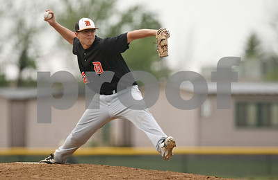 Rob Winner – rwinner@shawmedia.com  DeKalb pitcher Corey Nelson delivers a pitch in the bottom of the third inning during the Class 3A Kaneland Regional final in Maple Park Saturday afternoon. Marmion Academy defeated DeKalb, 4-1.