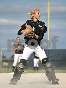 Rob Winner – rwinner@shawmedia.com  Kaneland catcher McKinzie Mangers holds onto the ball after a Sterling run in the top of the fifth inning during a Class 3A Belvidere North Sectional semifinal Wednesday, May 30, 2012. Sterling defeated Kaneland, 9-1.