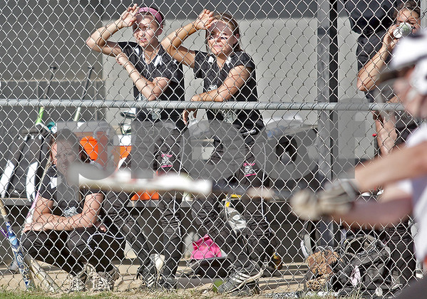 Monica Maschak - mmaschak@shawmedia.com<br /> Kaneland softball players watch an inning from their dugout during a game against DeKalb on Thursday, May 16, 2013. The Knights shut out the Barbs 4-0.