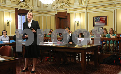 Kyle Bursaw – kbursaw@shawmedia.com  Michaela McMahon, a home schooled eighth grader on the prosecution, gives a closing statement in a mock trial at the DeKalb County Courthouse on Monday, April 30, 2012.