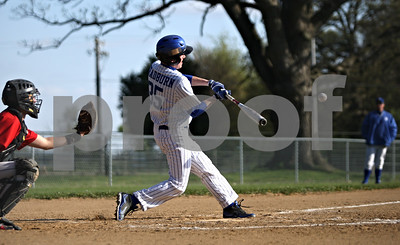 Rob Winner – rwinner@shawmedia.com  Cory Bradburn connects with a ball during his plate appearance in the bottom of the second inning Tuesday, April 10, while facing Indian Creek in Big Rock.