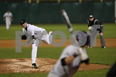 Rob Winner – rwinner@shawmedia.com  Northern Illinois pitcher Tom Barry delivers a pitch to Northwestern batter Zach Morton during the second inning in Geneva Tuesday night.