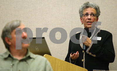 Kyle Bursaw – kbursaw@shawmedia.com  Dr. Marilyn Stromborg, coordinator of the DeKalb County Drug/DUI Court, shows the DeKalb County Board and those attending statistics about the program during a meeting in Sycamore, Ill. on Monday, May 21, 2012.