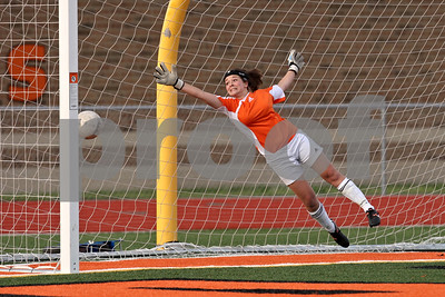 Rob Winner – rwinner@shawmedia.com  DeKalb goalkeeper Maddie Frye is unable to stop a goal by Sycamore's Emma Norris (not pictured) during the first half in DeKalb Tuesday, May 8, 2012. Sycamore defeated DeKalb, 3-1.