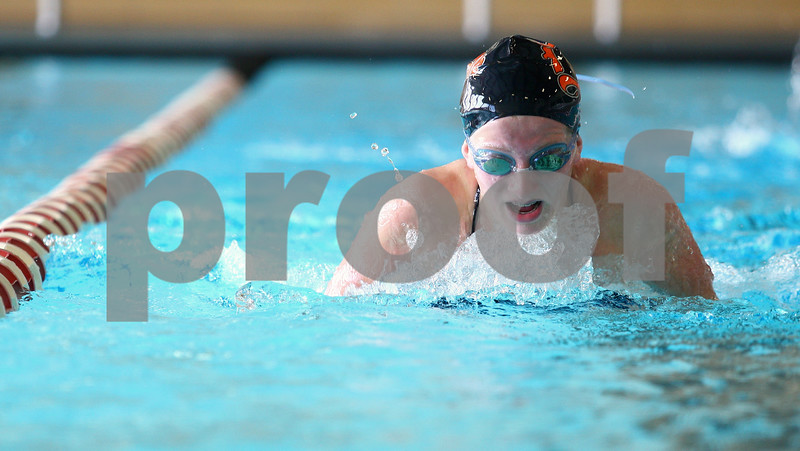 Kyle Bursaw – kbursaw@shawmedia.com<br /> <br /> Jensen Keck swims breaststroke at practice for the DeKalb/Sycamore co-op swim team at Huntley Middle School on Friday, Nov. 2, 2012. Several swimmers will compete at sectionals on Saturday Nov. 10.
